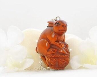 Bunny Rabbit Necklace Buddy the Sweetheart - Bunny Ojime - Rabbit Pendant - Bunny Jewellery
