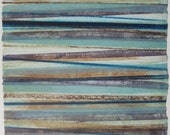Stripes 24 -  brown, blue, aqua, purple striped Collagraph hand-pulled print - 13 x 13 cm OOAK