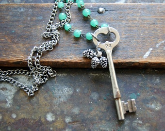 Secret Garden Key Necklace - antique skeleton key necklace, silver pine cones, woodland fashion, , nature  - Autumn Jewelry - forest dweller