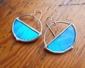 Real Butterfly Wing Earrings,  bright blue morpho