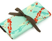 Short Knitting Needle Case Organizer - Sparrows on Aqua - brown pockets for circular, double pointed, interchangeable or travel