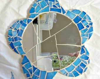 Mosaic flower shape mirror; Blue flower with antique mirror center wallhanging