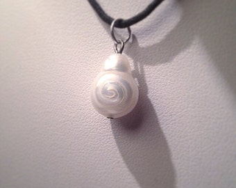 Swirl design handcarved Pearl necklace freshwater pendant ready to ship