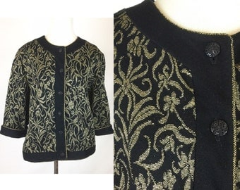 Black Gold Cardigan Jacket Top - Vintage 80s Shimmery Metallic Gold Design of Flowers, Leaves, Ribbons - Buttons, Gold Piping - Soft Comfy