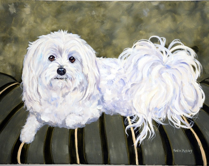 """Custom Painting of your Dog, Portrait, Large 18"""" x 24"""" oils on stretched canvas"""