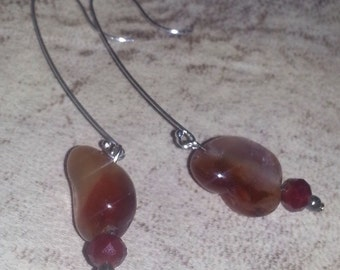 Carnelian Garnet Earwires red Orange