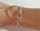 Delicate forged ivy tendril bracelet in fine silver