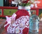 love token . felted art . felted heart . heart decoration . fiber art heart . recycled sweater heart . gypsy heart . key to my heart