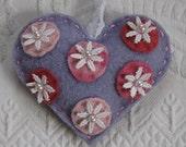 love token  . felted heart . heart decoration . fiber art heart . recycled sweater heart . gypsy heart . polka dot heart