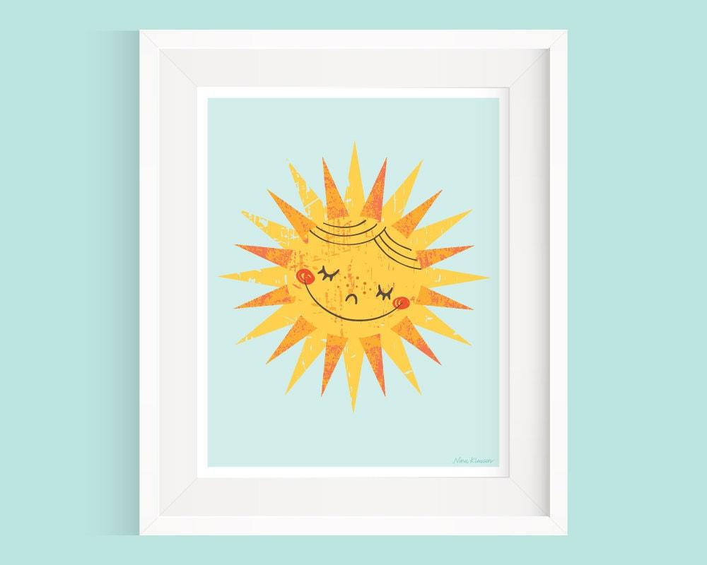 Happy sun wall art sunshine wall decor nursery by ninaklausen for Sun wall art