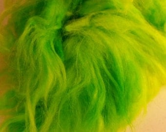 Angora Rabbit 100 percent  hand dyed chartreuse 10 grams
