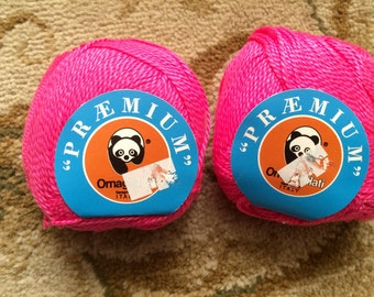 Two (2) skeins-Premium Ornaghi Filati-Worsted-100% Mercerized Egyptian Cotton Yarn-Cotton Candy Pink-Knitting, Crochet
