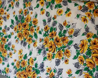 "Vintage Yellow Floral Print Cotton Fabric 4 yds x 36"" wide"