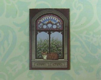 Dollhouse Miniature Cat in Window Wall Panel
