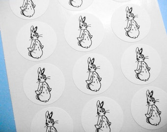 "Peter Rabbit Beatrix Potter Sticker Label Baby Shower - 1"" One Inch Round Sticker Envelope Seals - B&W, Sheets of 15 - by Blossom Arts"
