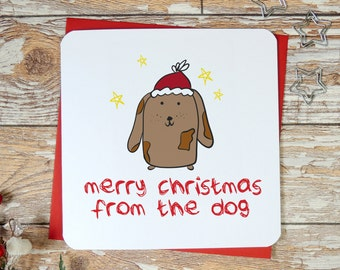 Merry Christmas From the Dog, funny christmas card, dog card, xmas card, dog lover card, uk seller, parsy card co