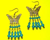 Vintage 1980s Butterfly Silver and Turquoise Beaded Large Dangle Drop Earrings