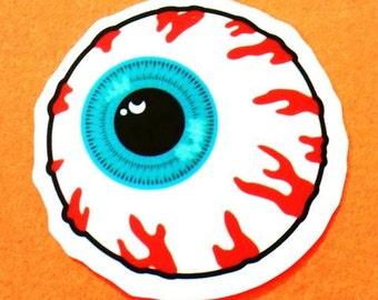 Evil Eye Creepy Bloodshot Eyeball Pink Skull Vinyl Sticker