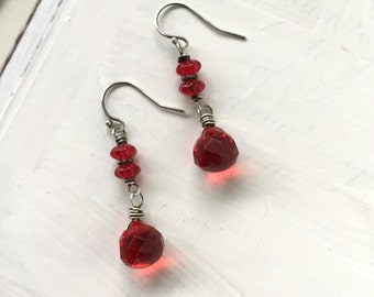 Red Hot. Sterling Silver and Glass Handmade earrings. Valentines Gift