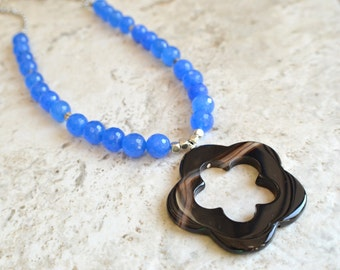 The Seraphina- Black Agate Pendant and Blue Jade Chain Necklace