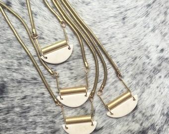 Bone Necklace / Brass Necklace / White Stone