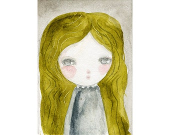 Karina - Giclee Reproduction Of Original Watercolor Painting By Danita Art (Paper Prints and ACEO Wood Mounted)