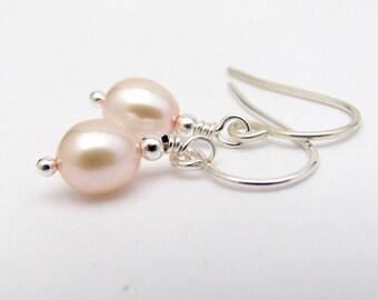 Petite Pink Pearl Earrings, Real Pearl Earrings, Freshwater Pearls, Sterling Silver, Wedding Earrings, Bridesmaid Gift, Hawaiian Jewelry