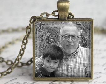 Square Personalized Custom Photo Pendant, Necklace or Key Chain - Choice of 4 Setting Colors