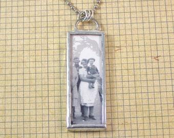 Vintage Photo Double Sided Necklace, Instant Ancestors Pendant