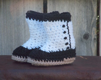 White and Black Victorian Booties, size Small (6 month)