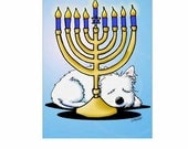 Hanukkah Menorah Westie Dog Cards