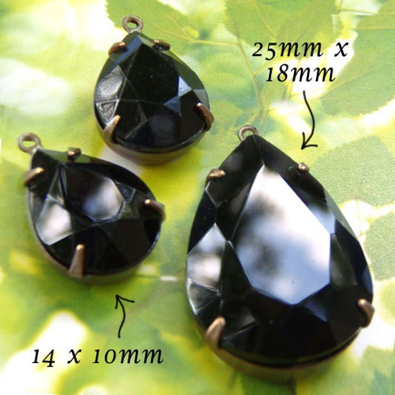 black glass pendant and vintage glass earring jewels