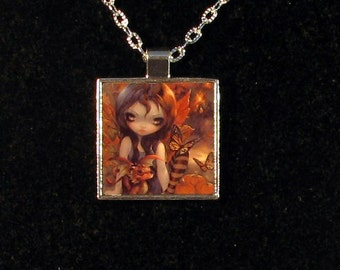 Autumn square metal necklace by Jasmine Becket-Griffith Art fairy fall leaves dragon autumnal