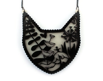 Cat Necklace - filigree acrylic flower fern laser cut necklace black white pearlised pearl crazy cat lady