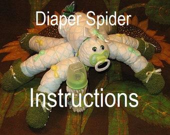 "Learn to make ""Snyder"" diaper spider. GR8 HALLOWEEN decor diaper cake keepsake baby shower."