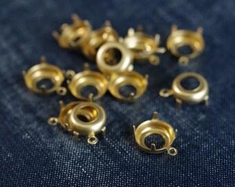 48ss 11mm Round Single-Loop Brass Rhinestone Prong Settings - 24pcs