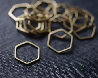 Honeycomb Hexagons 16x18mm (Thicker) - Raw Brass - 24 pieces - Hexagon Connectors, Brass Hexagons, Hexagon Link
