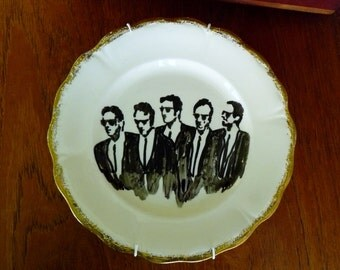 Reservoir Dogs hand painted vintage dinner plate with hanger recycled movie noir humor bad guys decor display