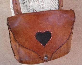 Vintage 1970s Leather Purse 70s CrossBody Boho Hippie Bag 201639