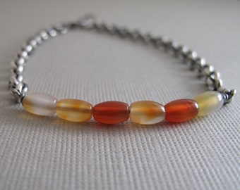 Carnelian and Sterling Silver Bracelet - Orange and White Carnelian Gemstone Bracelet with sterling silver Chain