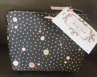 Make up Bag | Travel Cosmetic Bag | Black Pink Lime Polka dot