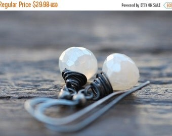 ON SALE White Agate Earrings Sterling Silver White Chalcedony Earrings White Wire-wrapped Modern Wedding Jewelry Organic Bridal Jewelry