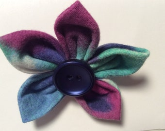 Blue Fabric Flower Brooch Pin Cotton Fabric