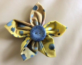 Yellow Blue Grey Fabric Flower Brooch