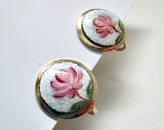 Guilloche Rose Earrings - Vintage Screw Style Earrings