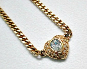 Vintage Necklace - Heart with Clear Crystal Vintage Pendant Necklace - Vintage Jewelry Necklace 5.00 Gift