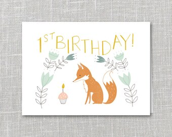 First Birthday Notecard Printable Instant Download PDF