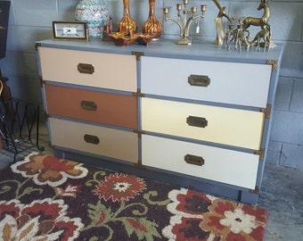 Vintage Campaign Style Hand Paint Multicolored Dresser Credenza Nursery Kids Room Storage