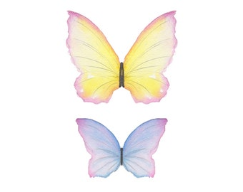 Watercolor print Butterflies yellow pink and blue 8X10 inch print