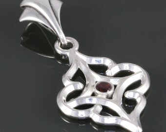 Genuine Garnet Pendant. Sterling Silver Necklace. Arabesque Filigree. January Birthstone. 16 Inch, 18 Inch, or 20 Inch Necklace. f16p006
